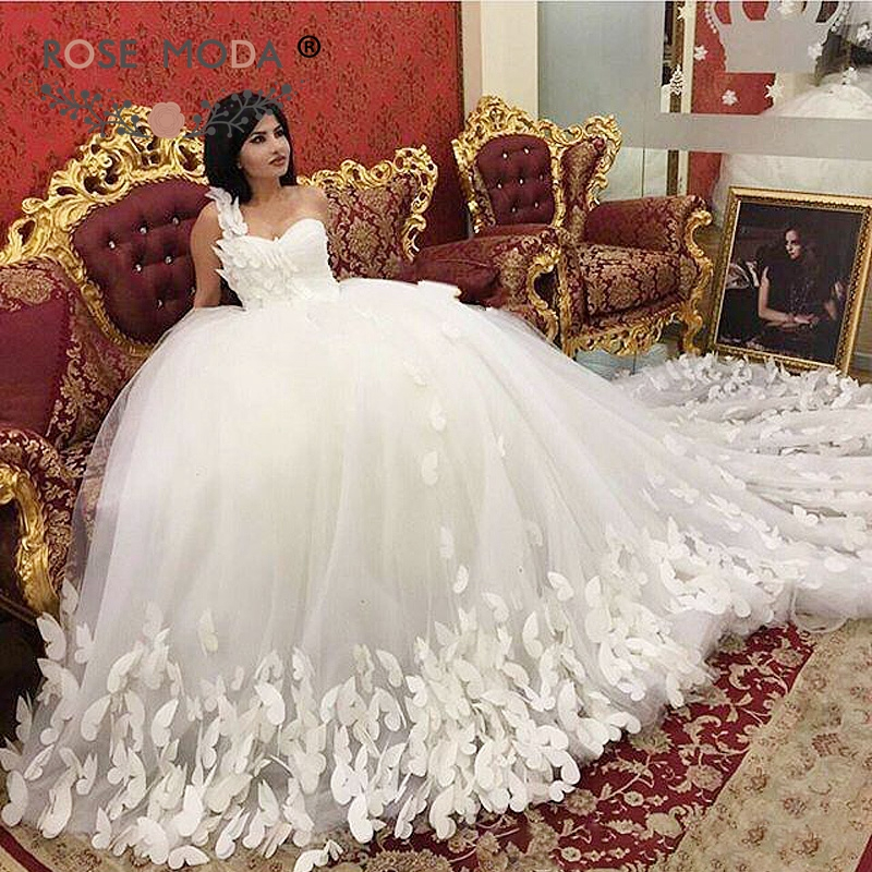 Rose Moda One Shoulder Erfly Wedding Dress With Royal Train Puffy Princess Bridal Ball Gown For