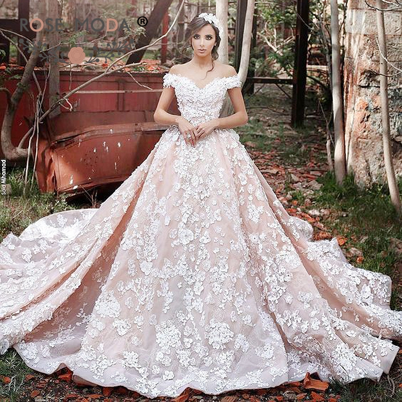 Rose Moda Off Shoulder Ivory Over Blush Lace Wedding Ball Gown With ...