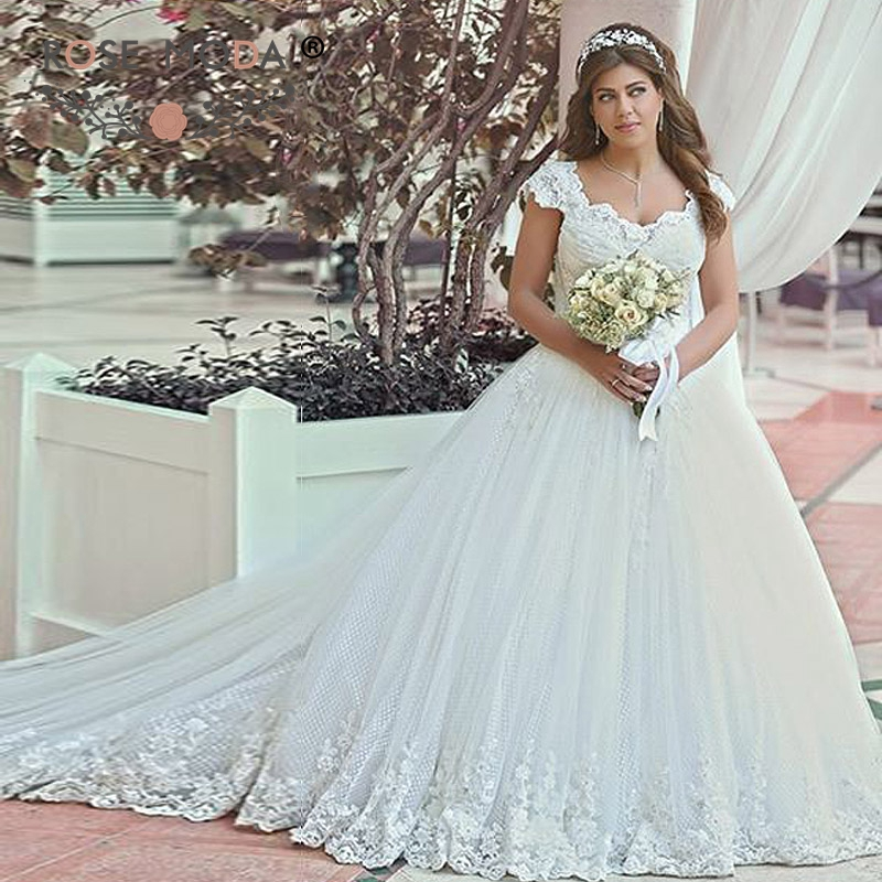 91061f511 Rose Moda Cap Sleeves Lace Appliqued Tulle Bridal Dress Plus Size Wedding  Dress with Full Skirt Vestidos de Noiva