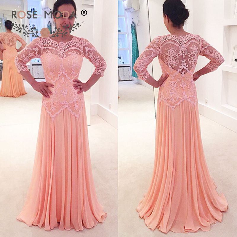 081f3dac422f Rose Moda O Neck Half Lace Sleeves Coral Mother of the Bride Dress with  Illusion Lace Back Formal Party Dress Prom Dress