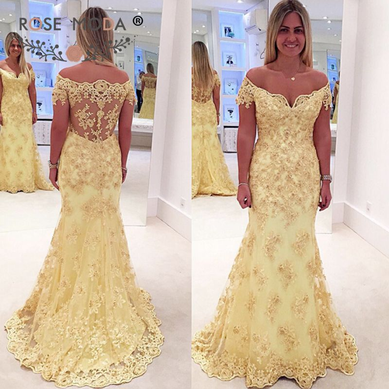 e38f170574d3 Rose Moda Off Shoulder Short Sleeves Yellow Lace Mermaid Prom Dress with  Illusion Lace Back Boat