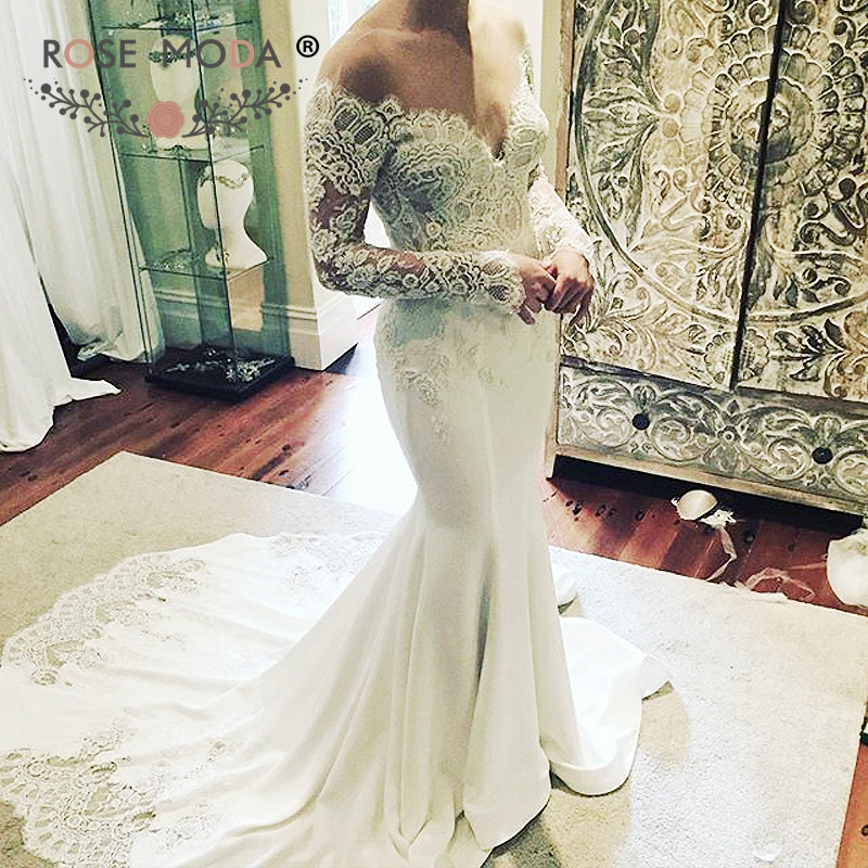 d9750882918 Rose Moda Sheer O Neck Long Sleeves French Lace Mermaid Wedding Dress V  Back Lace Scalloped Train Bo on Luulla